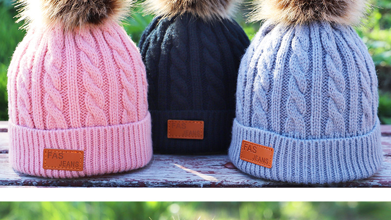 Children's Autumn, Winter Knitted Cotton Hat, Warm, Comfortable Solid Color Fashion Cap 7