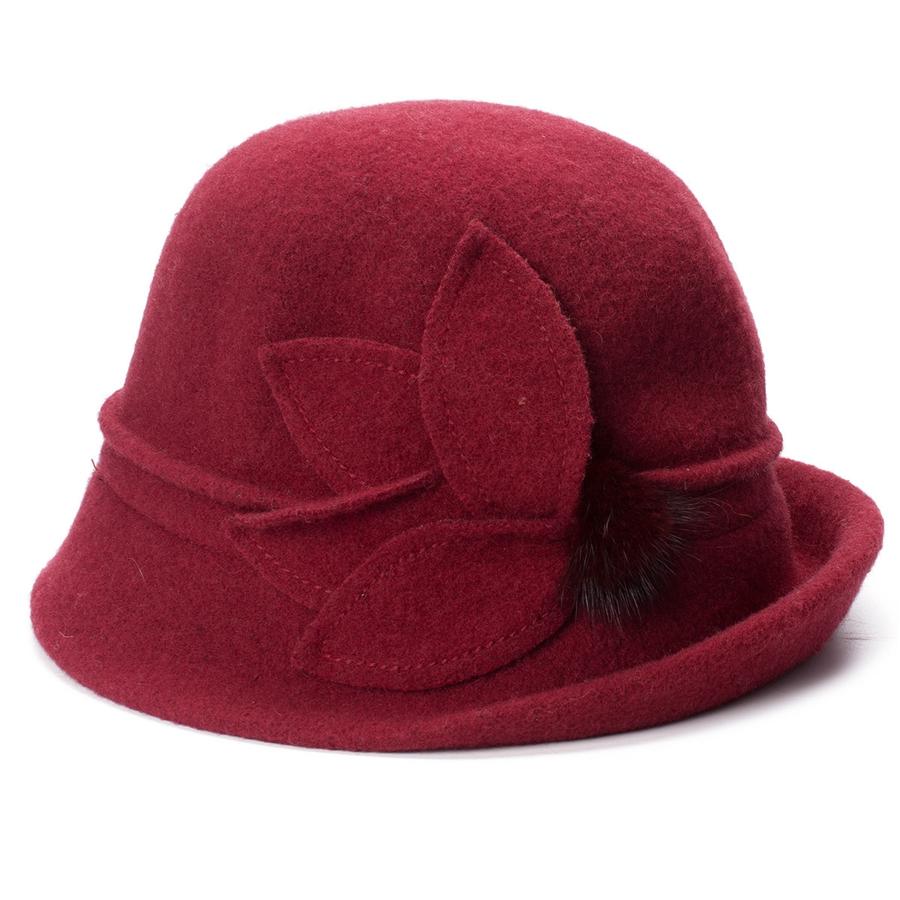 Women Cloche Hat, Wool Fedoras Hat, , Women's Fashion Soft Leaves Fur Bobbles Bucket Hat 33