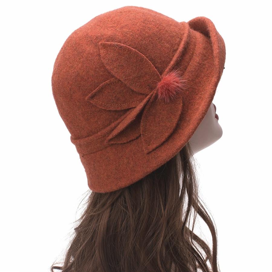 Women Cloche Hat, Wool Fedoras Hat, , Women's Fashion Soft Leaves Fur Bobbles Bucket Hat 30