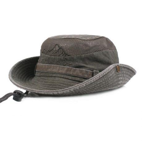 Men's Cap Summer, 100% Cotton Retro Mesh Breathable Bucket Hat, Wind Rope Fixed, Dad's Beach Hat 1