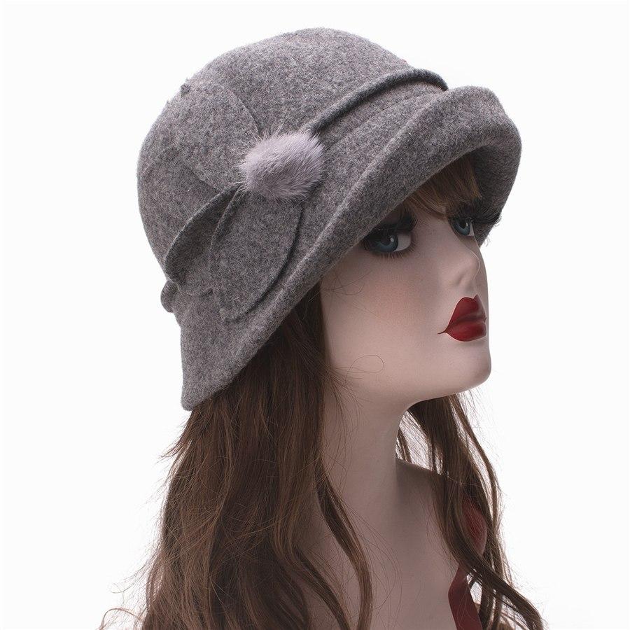 Women Cloche Hat, Wool Fedoras Hat, , Women's Fashion Soft Leaves Fur Bobbles Bucket Hat 25