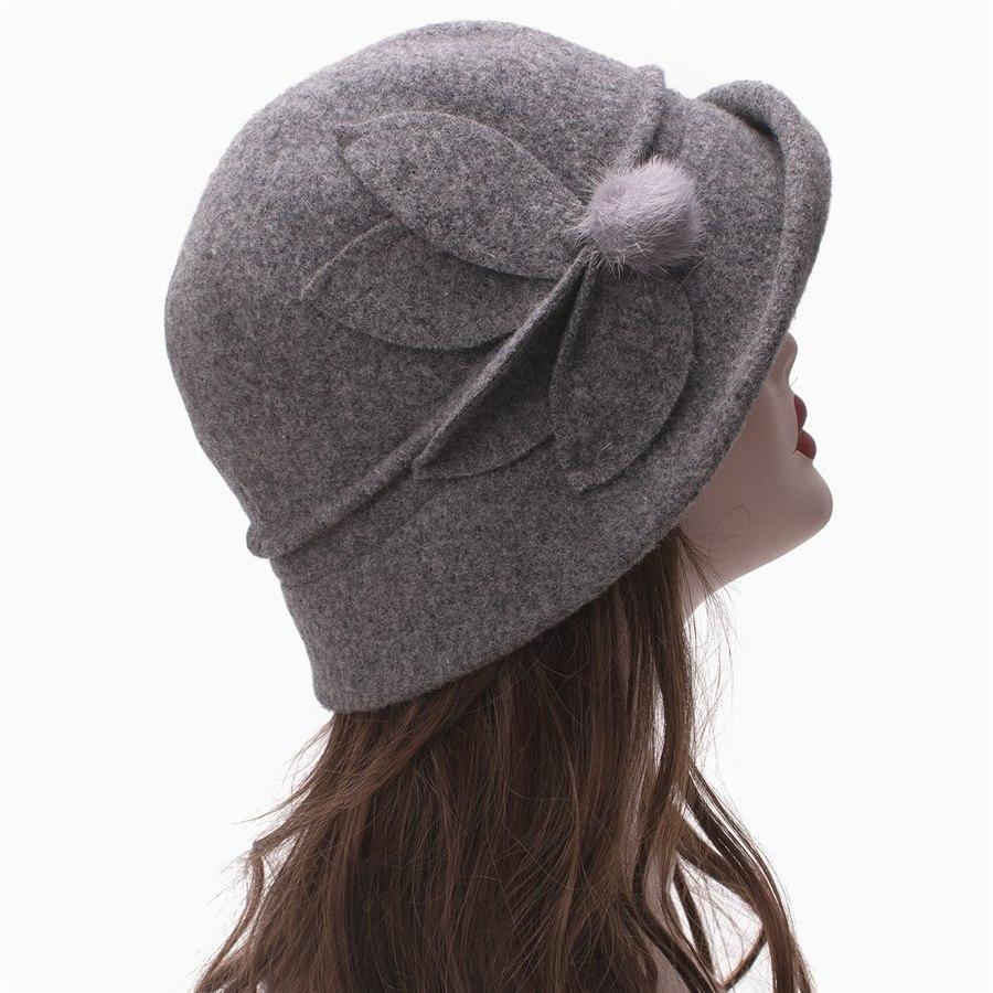 Women Cloche Hat, Wool Fedoras Hat, , Women's Fashion Soft Leaves Fur Bobbles Bucket Hat 24