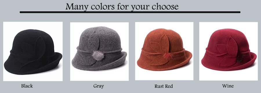 Women Cloche Hat, Wool Fedoras Hat, , Women's Fashion Soft Leaves Fur Bobbles Bucket Hat 15