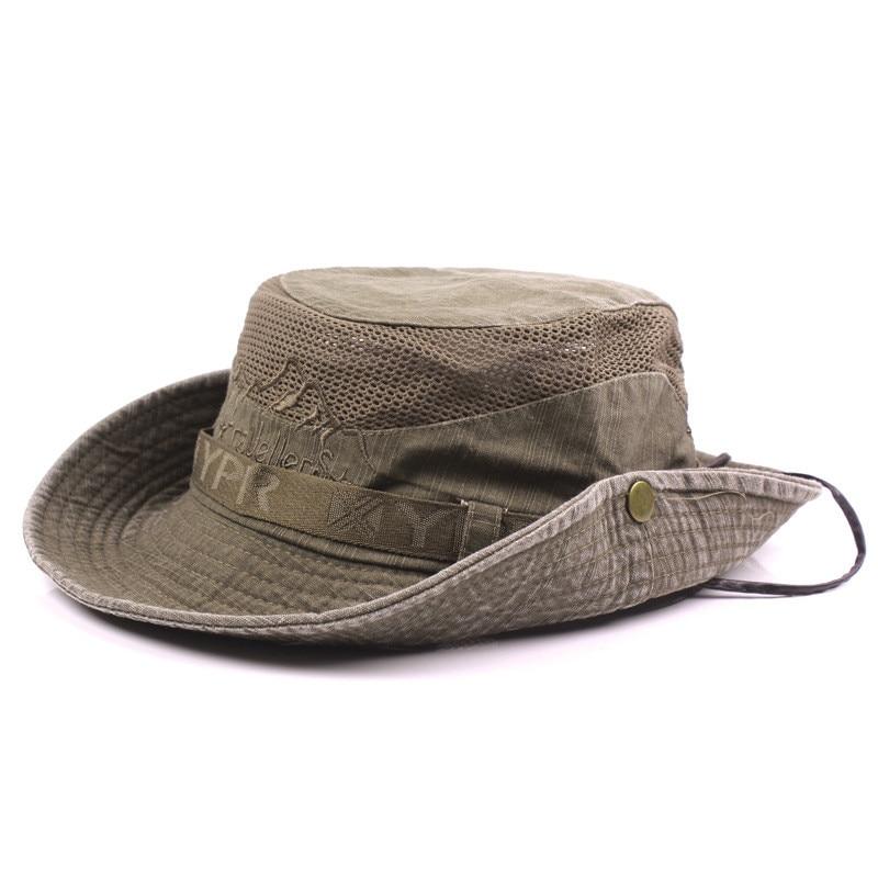 Men's Cap Summer, 100% Cotton Retro Mesh Breathable Bucket Hat, Wind Rope Fixed, Dad's Beach Hat 16