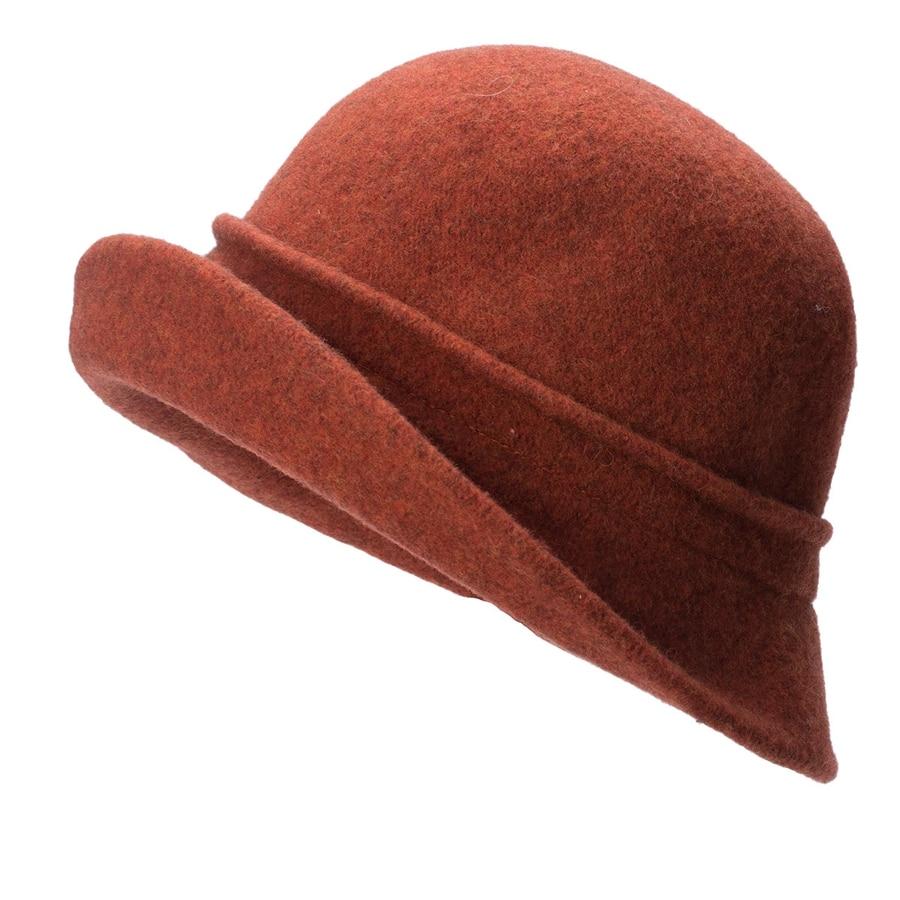 Women Cloche Hat, Wool Fedoras Hat, , Women's Fashion Soft Leaves Fur Bobbles Bucket Hat 29
