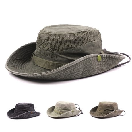 Men's Cap Summer, 100% Cotton Retro Mesh Breathable Bucket Hat, Wind Rope Fixed, Dad's Beach Hat 5