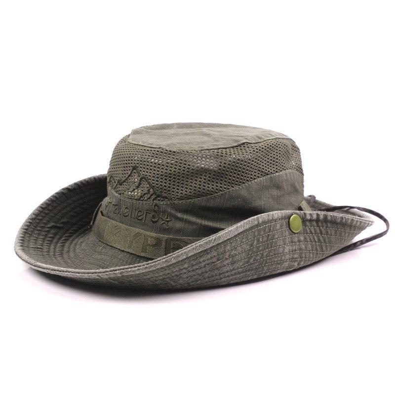 Men's Cap Summer, 100% Cotton Retro Mesh Breathable Bucket Hat, Wind Rope Fixed, Dad's Beach Hat 17