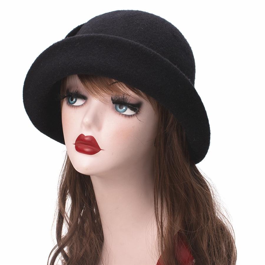 Women Cloche Hat, Wool Fedoras Hat, , Women's Fashion Soft Leaves Fur Bobbles Bucket Hat 20