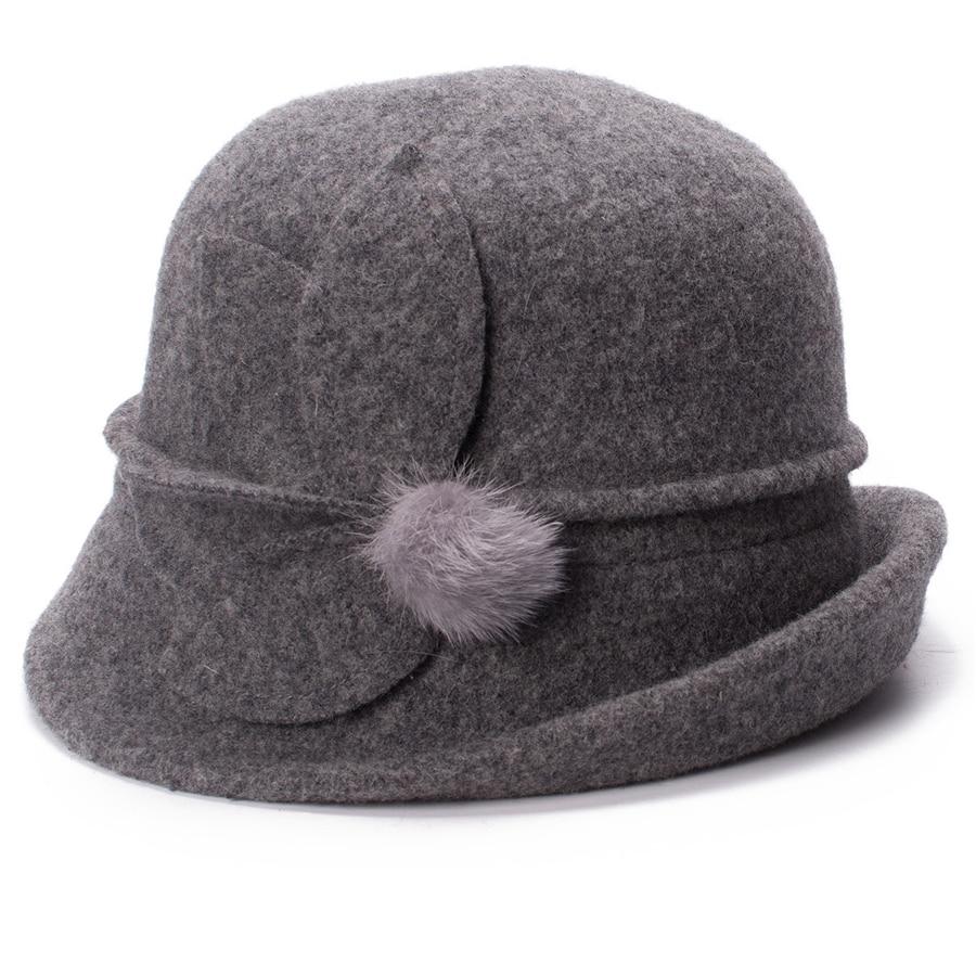Women Cloche Hat, Wool Fedoras Hat, , Women's Fashion Soft Leaves Fur Bobbles Bucket Hat 21
