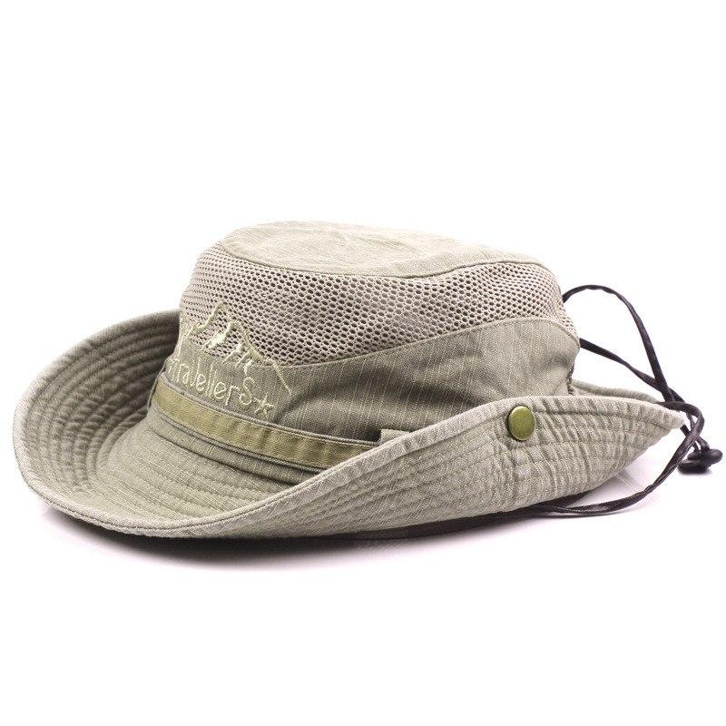 Men's Cap Summer, 100% Cotton Retro Mesh Breathable Bucket Hat, Wind Rope Fixed, Dad's Beach Hat 19