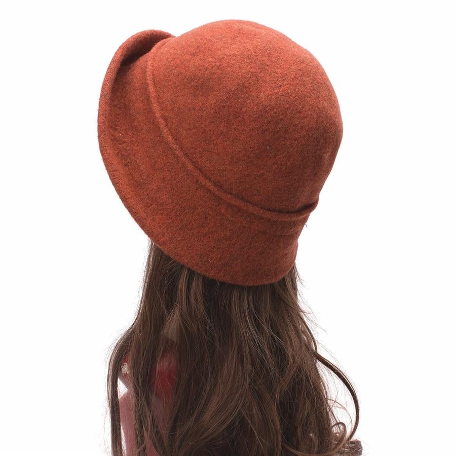 Women Cloche Hat, Wool Fedoras Hat, , Women's Fashion Soft Leaves Fur Bobbles Bucket Hat 32