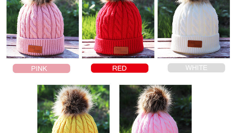 Children's Autumn, Winter Knitted Cotton Hat, Warm, Comfortable Solid Color Fashion Cap 5