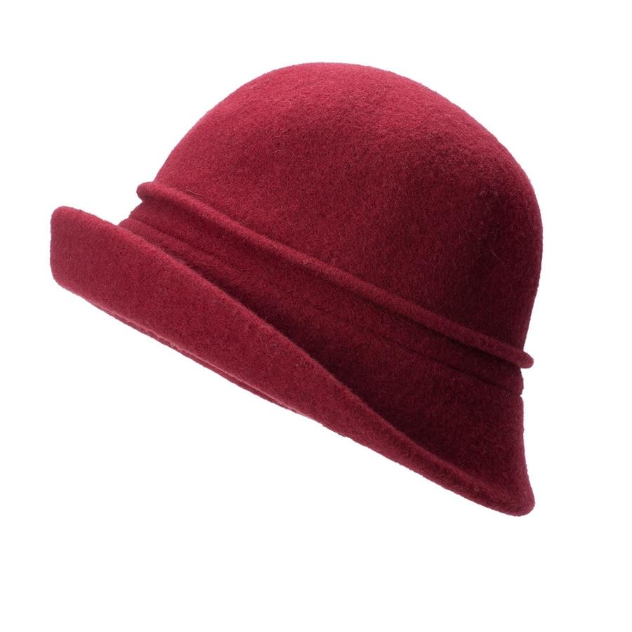 Women Cloche Hat, Wool Fedoras Hat, , Women's Fashion Soft Leaves Fur Bobbles Bucket Hat 35