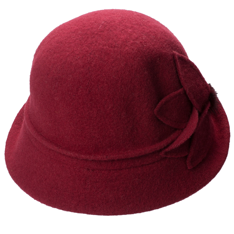 Women Cloche Hat, Wool Fedoras Hat, , Women's Fashion Soft Leaves Fur Bobbles Bucket Hat 34