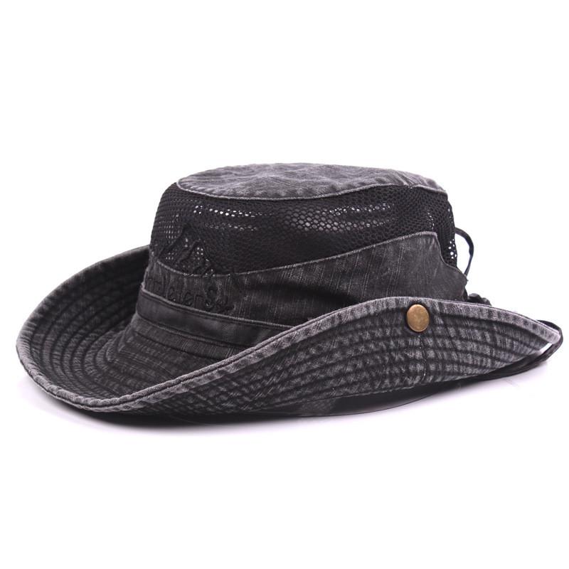 Men's Cap Summer, 100% Cotton Retro Mesh Breathable Bucket Hat, Wind Rope Fixed, Dad's Beach Hat 18