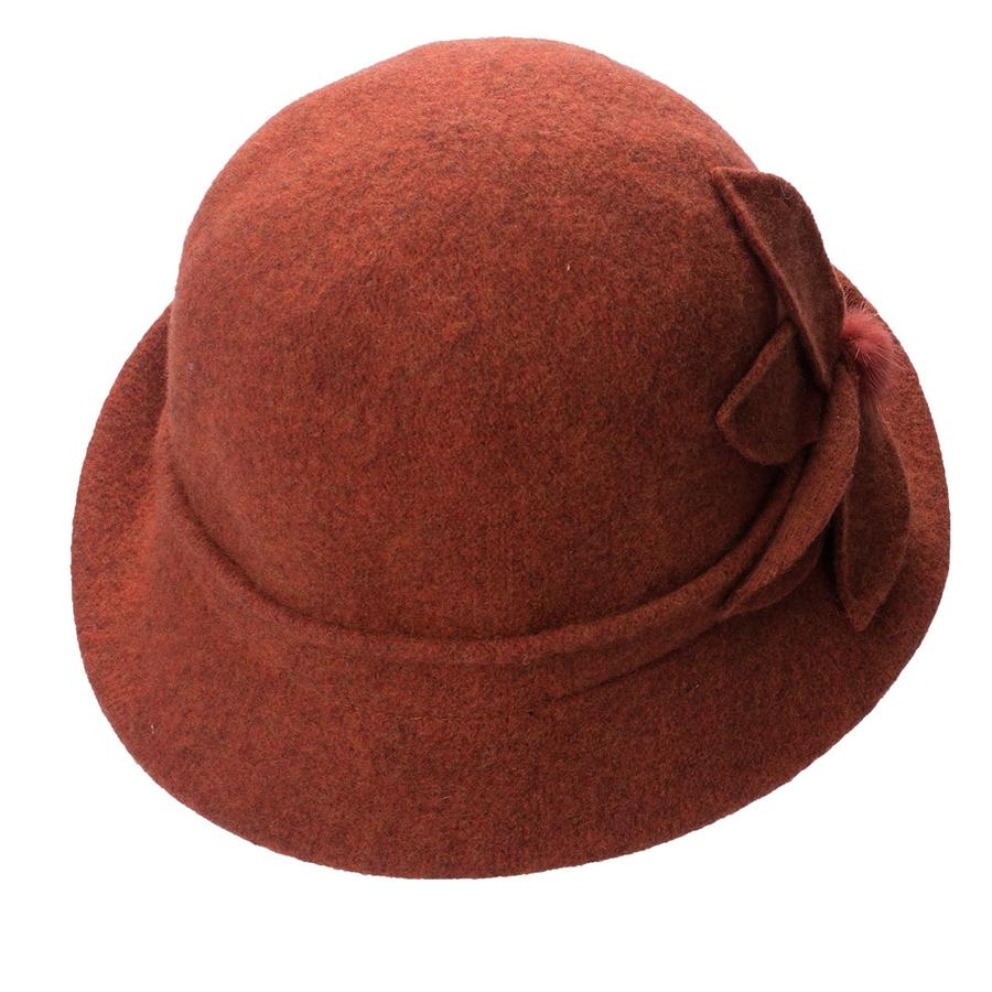 Women Cloche Hat, Wool Fedoras Hat, , Women's Fashion Soft Leaves Fur Bobbles Bucket Hat 28