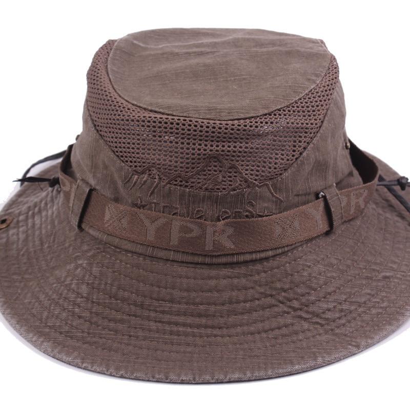 Men's Cap Summer, 100% Cotton Retro Mesh Breathable Bucket Hat, Wind Rope Fixed, Dad's Beach Hat 12