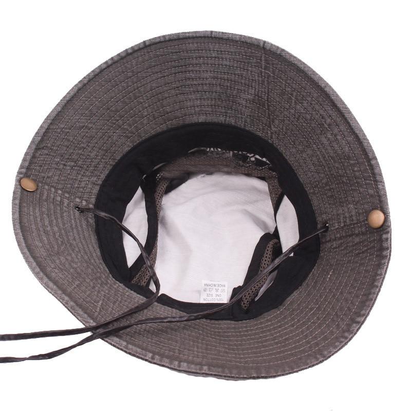 Men's Cap Summer, 100% Cotton Retro Mesh Breathable Bucket Hat, Wind Rope Fixed, Dad's Beach Hat 14