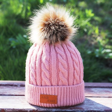 Children's Autumn, Winter Knitted Cotton Hat, Warm, Comfortable Solid Color Fashion Cap 3