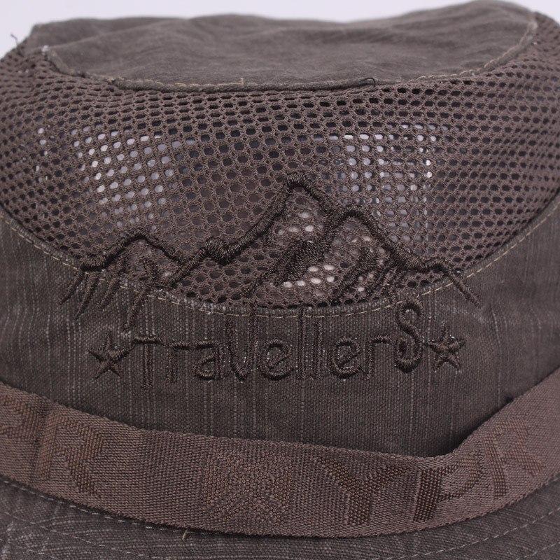 Men's Cap Summer, 100% Cotton Retro Mesh Breathable Bucket Hat, Wind Rope Fixed, Dad's Beach Hat 13