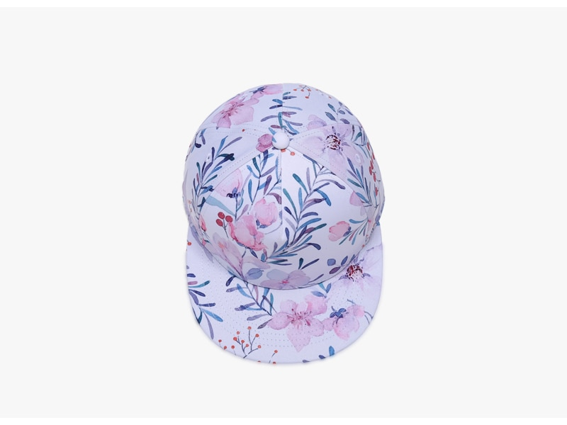 3D Printing Cap, Small Fresh Flowers Women Baseball Cap, Bone Cotton Adjustable Snapback 6