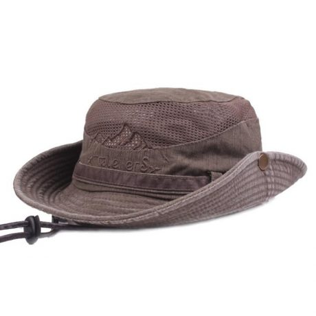 Men's Cap Summer, 100% Cotton Retro Mesh Breathable Bucket Hat, Wind Rope Fixed, Dad's Beach Hat 2