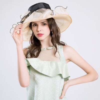 Summer Fashion Aristocratic Sombreros Hat, Wide Large Brim, Elegant Flower, Ladies Hat