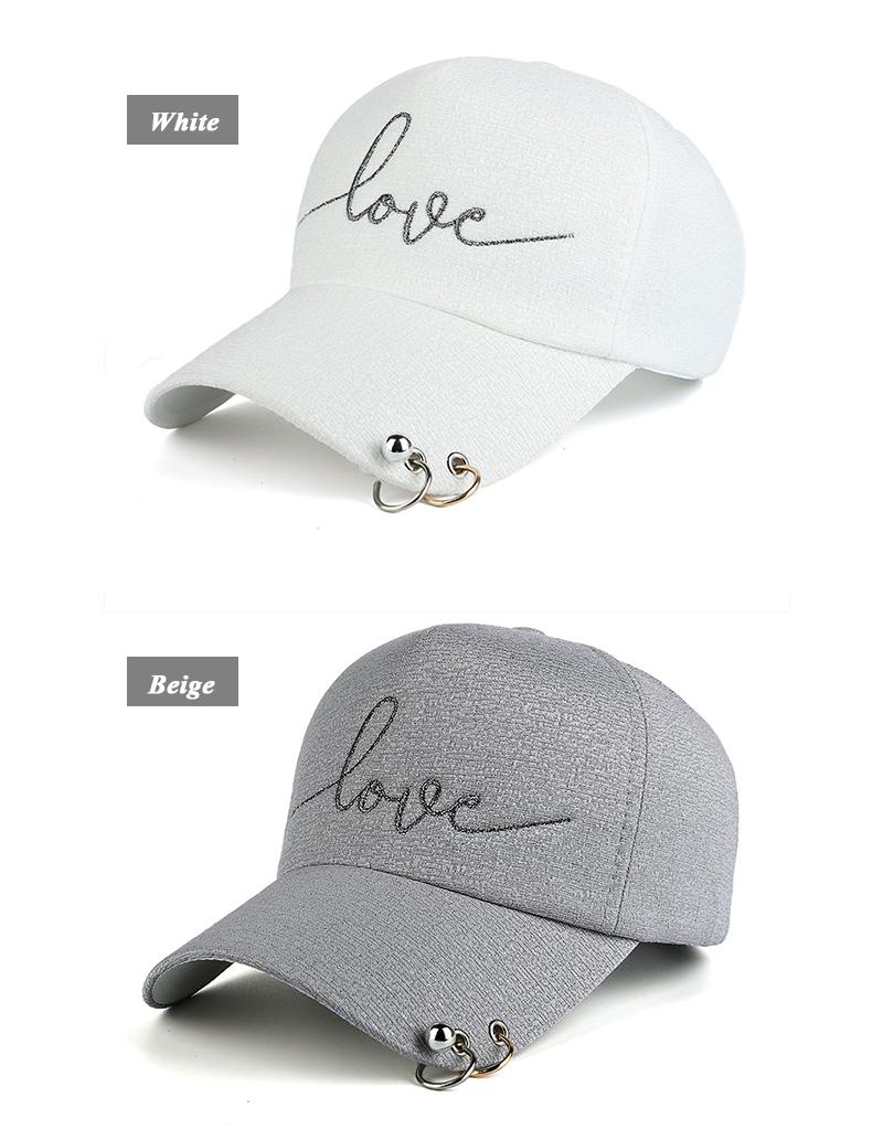 """New Snapback Cap, Metal Hoop Bead On Visor, """" Love"""" Embroidery Hat 5"""