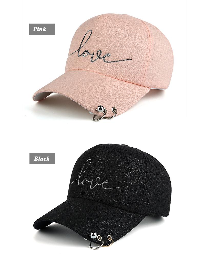 """New Snapback Cap, Metal Hoop Bead On Visor, """" Love"""" Embroidery Hat 4"""