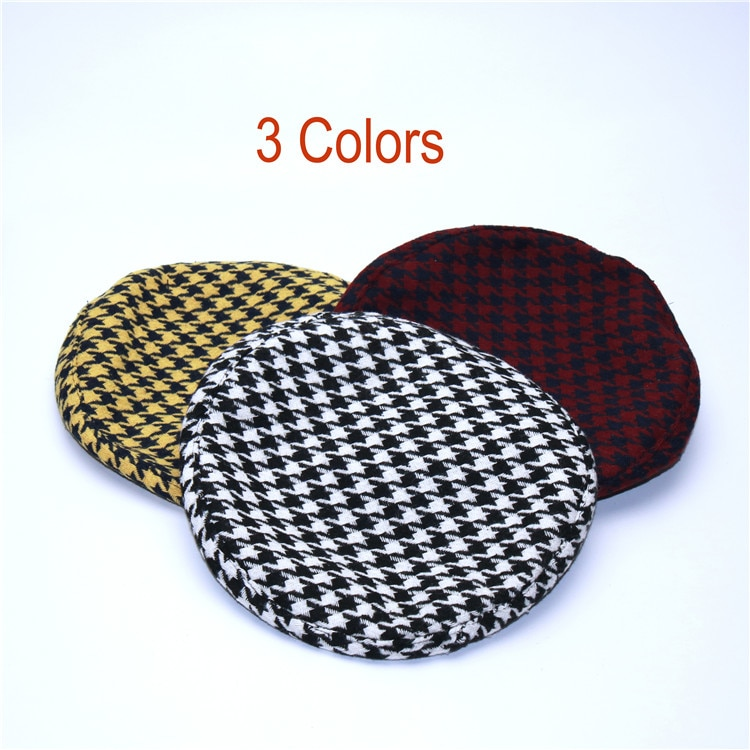 New Plaid Beret Hat, Women's French Beret, Hounds Tooth Beret, Adjustable 15