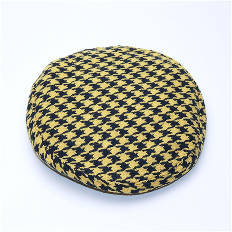New Plaid Beret Hat, Women's French Beret, Hounds Tooth Beret, Adjustable 17