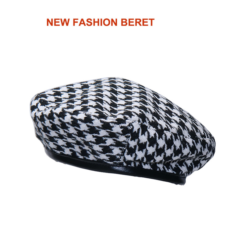 New Plaid Beret Hat, Women's French Beret, Hounds Tooth Beret, Adjustable 10
