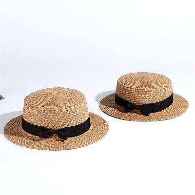 2019 Simple Summer Hat, Women's Casual Panama Hat, Women's Flat Brim Bowknot Straw Cap, Girls Sun Hat