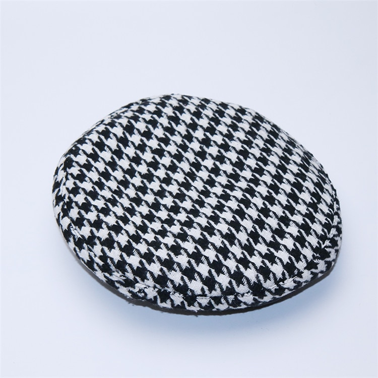 New Plaid Beret Hat, Women's French Beret, Hounds Tooth Beret, Adjustable 11