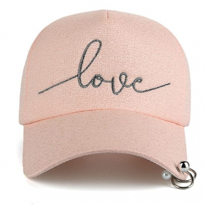"New Snapback Cap, Metal Hoop Bead On Visor, "" Love"" Embroidery Hat"